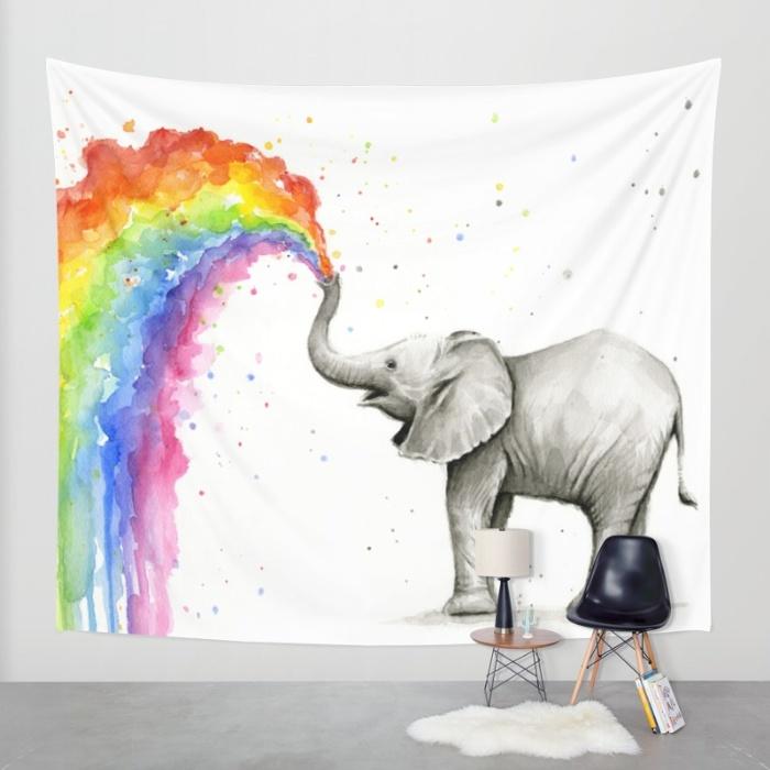 Baby Elephant Rainbow - Tapestry