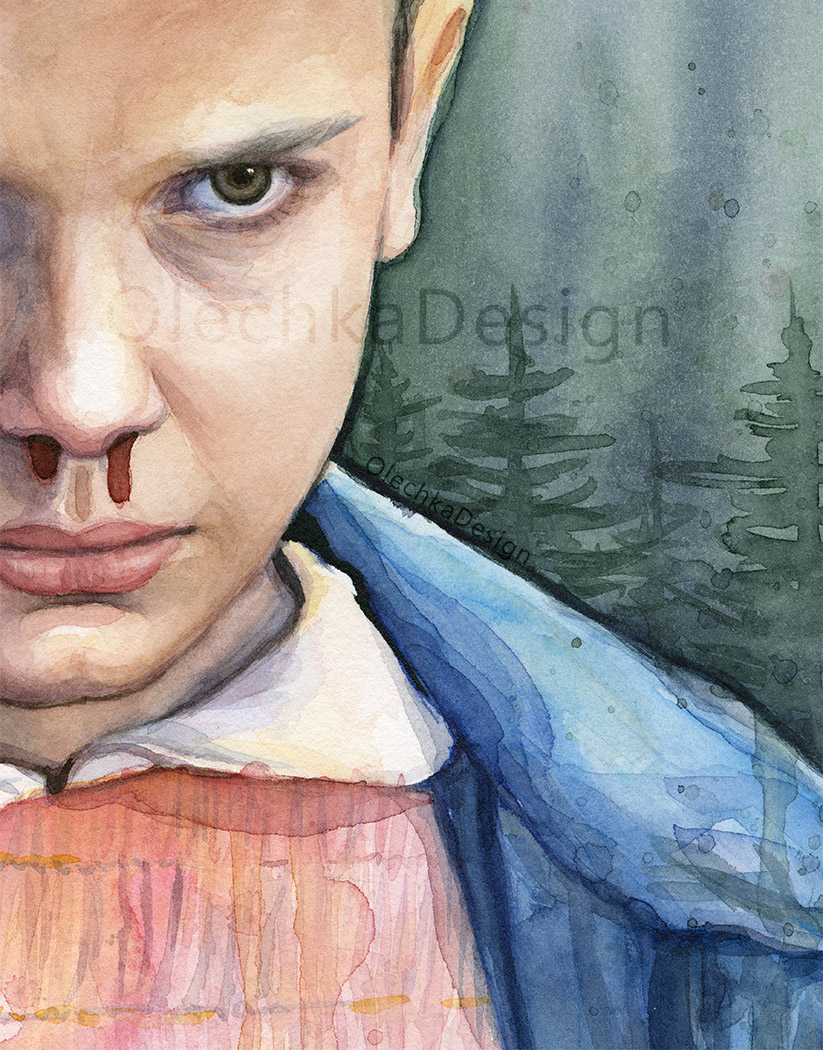 Eleven from Stranger Things, watercolor portrait, detail.