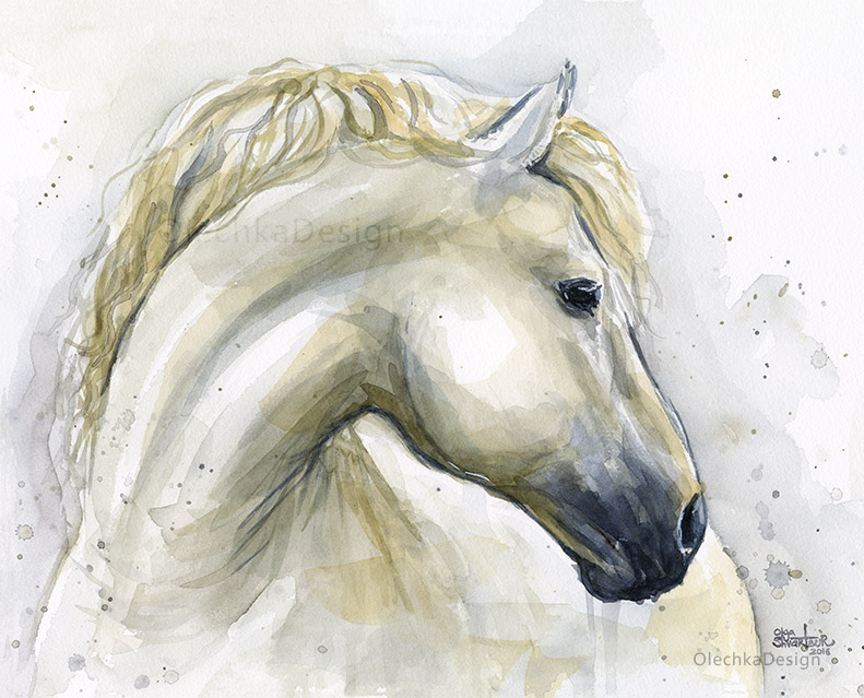 horse watercolor