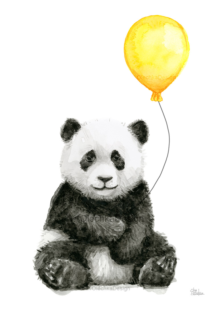 Panda-animal-watercolor-balloon-yellow-olechkadesign.jpg
