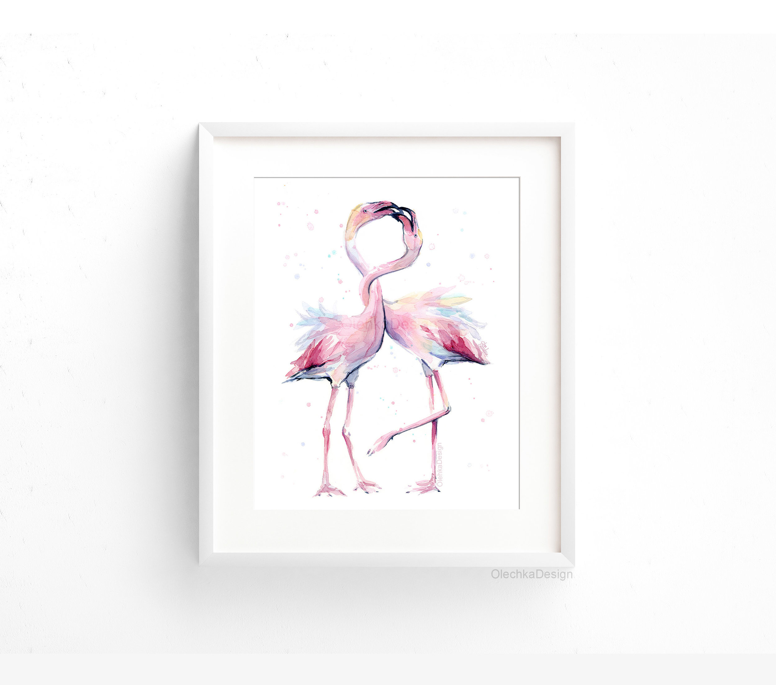 two flamingos watercolor