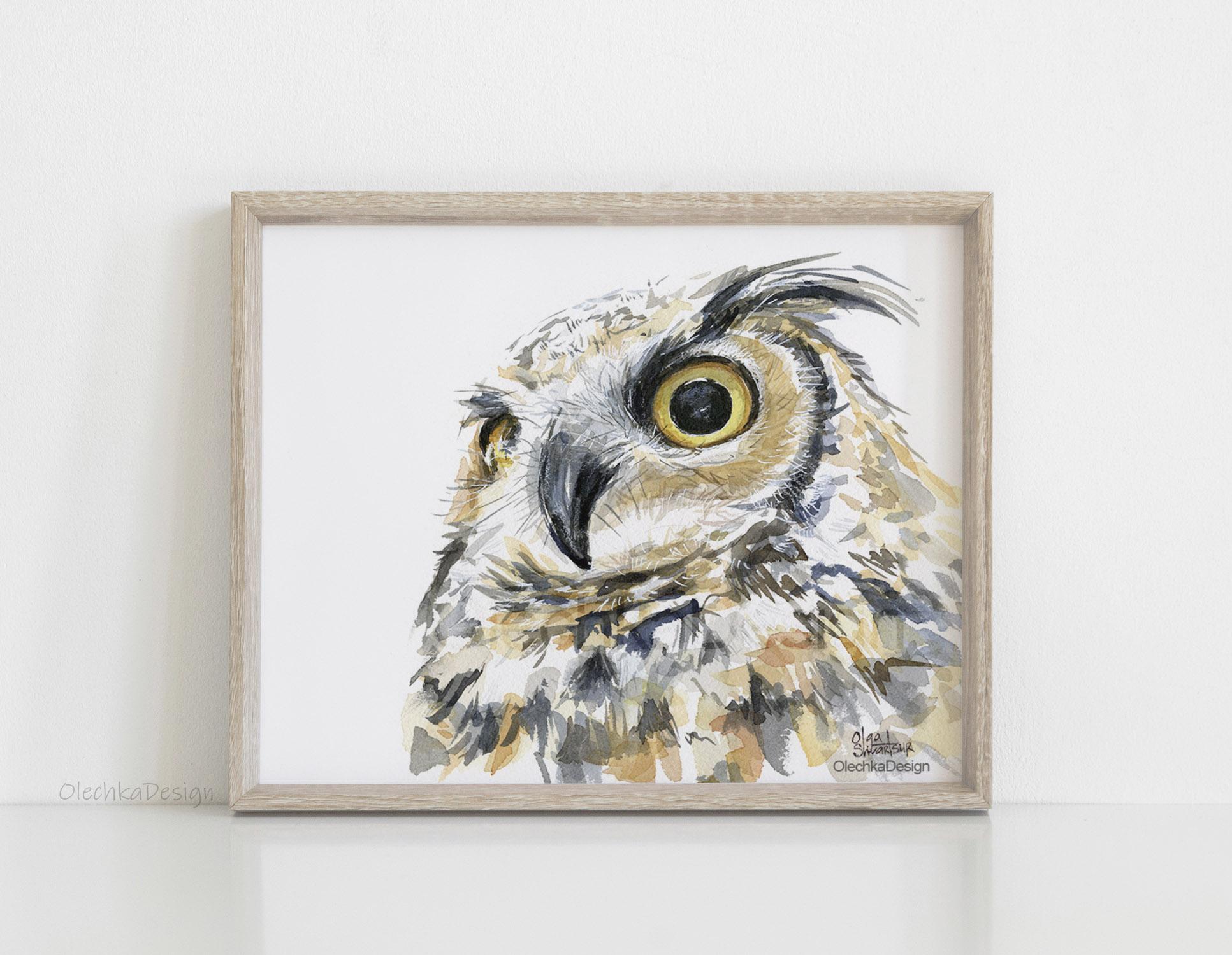 great horned owl art