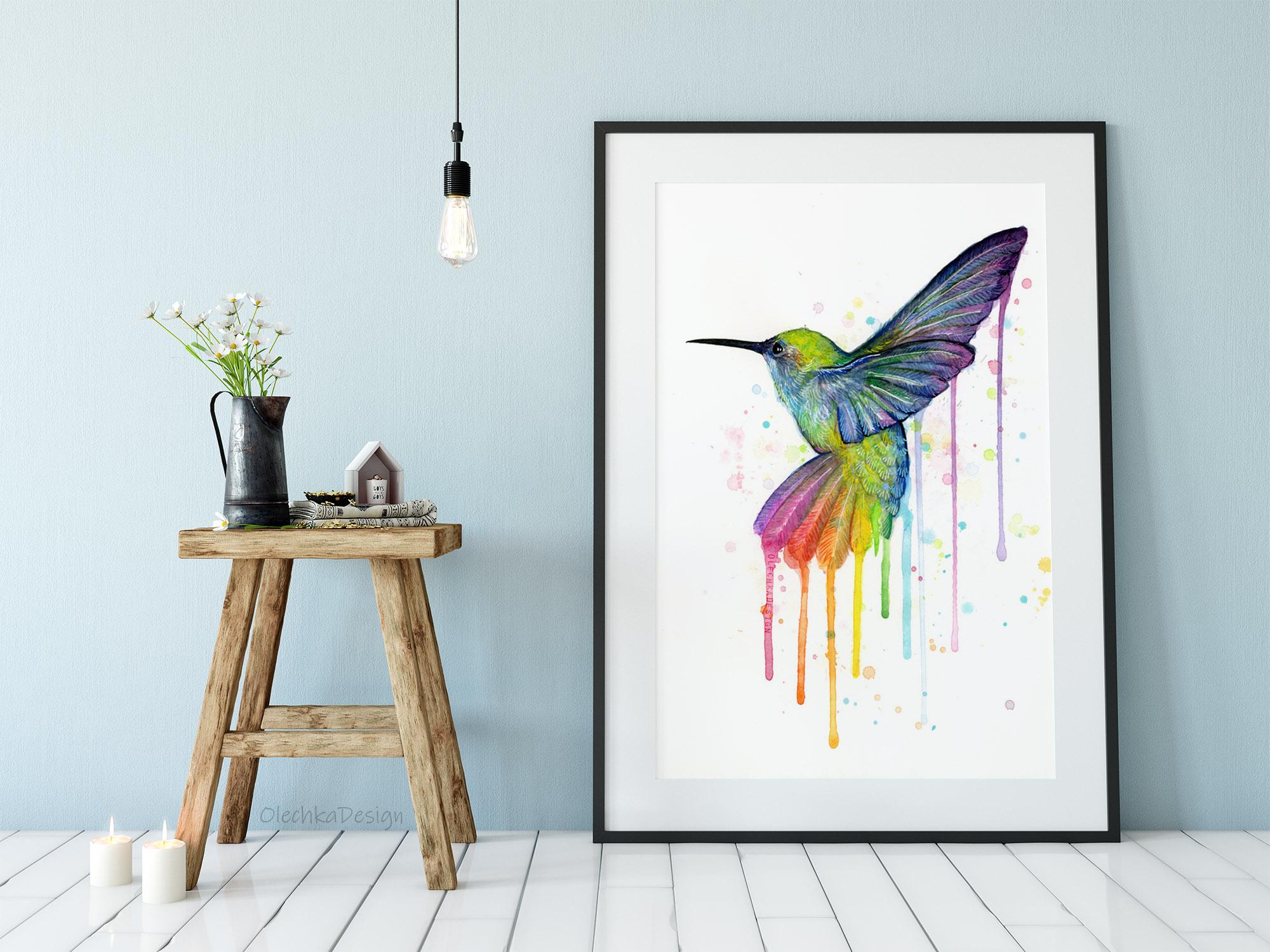rainbow hummingbird art