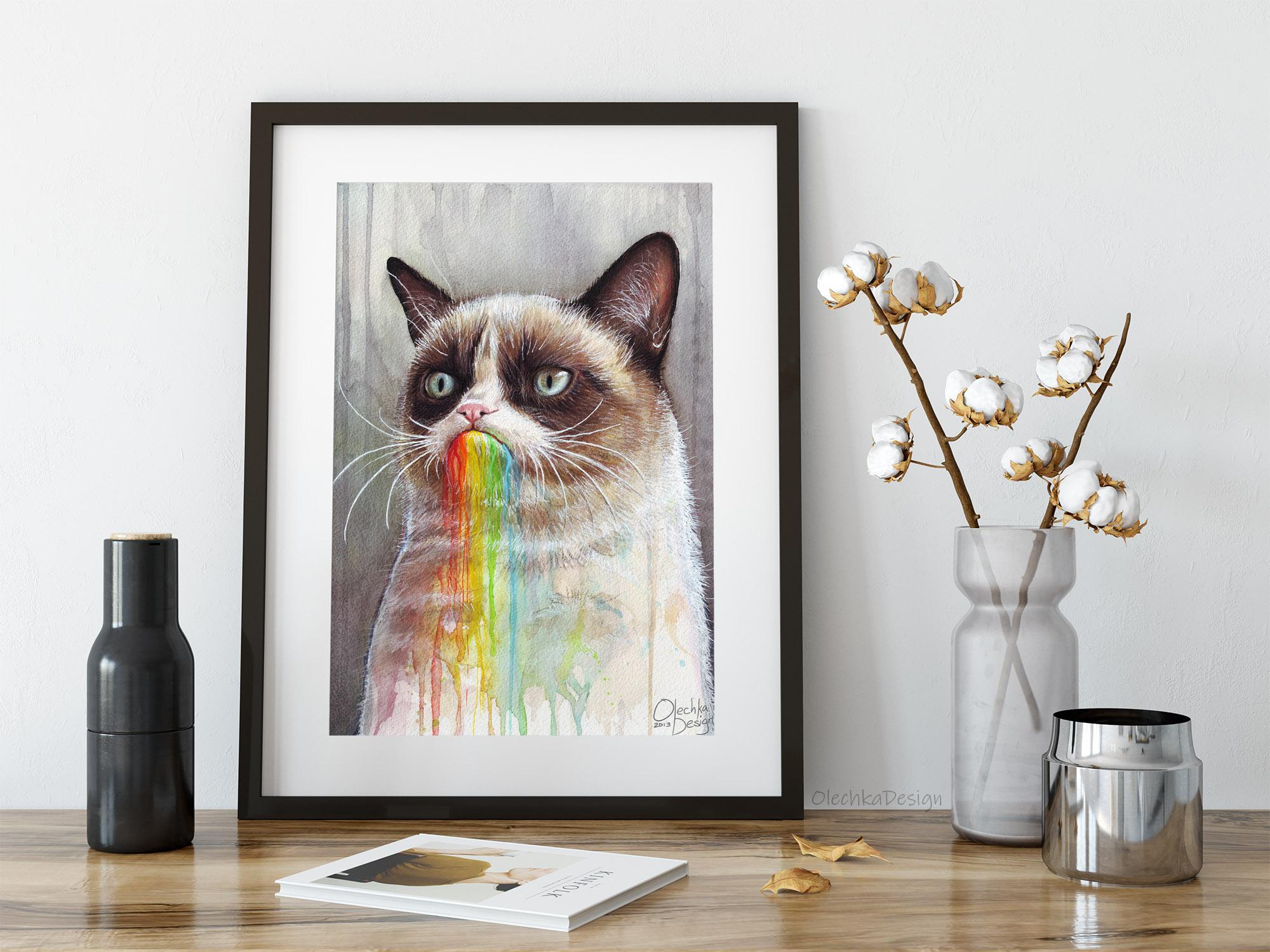 grumpy cat tastes rainbow