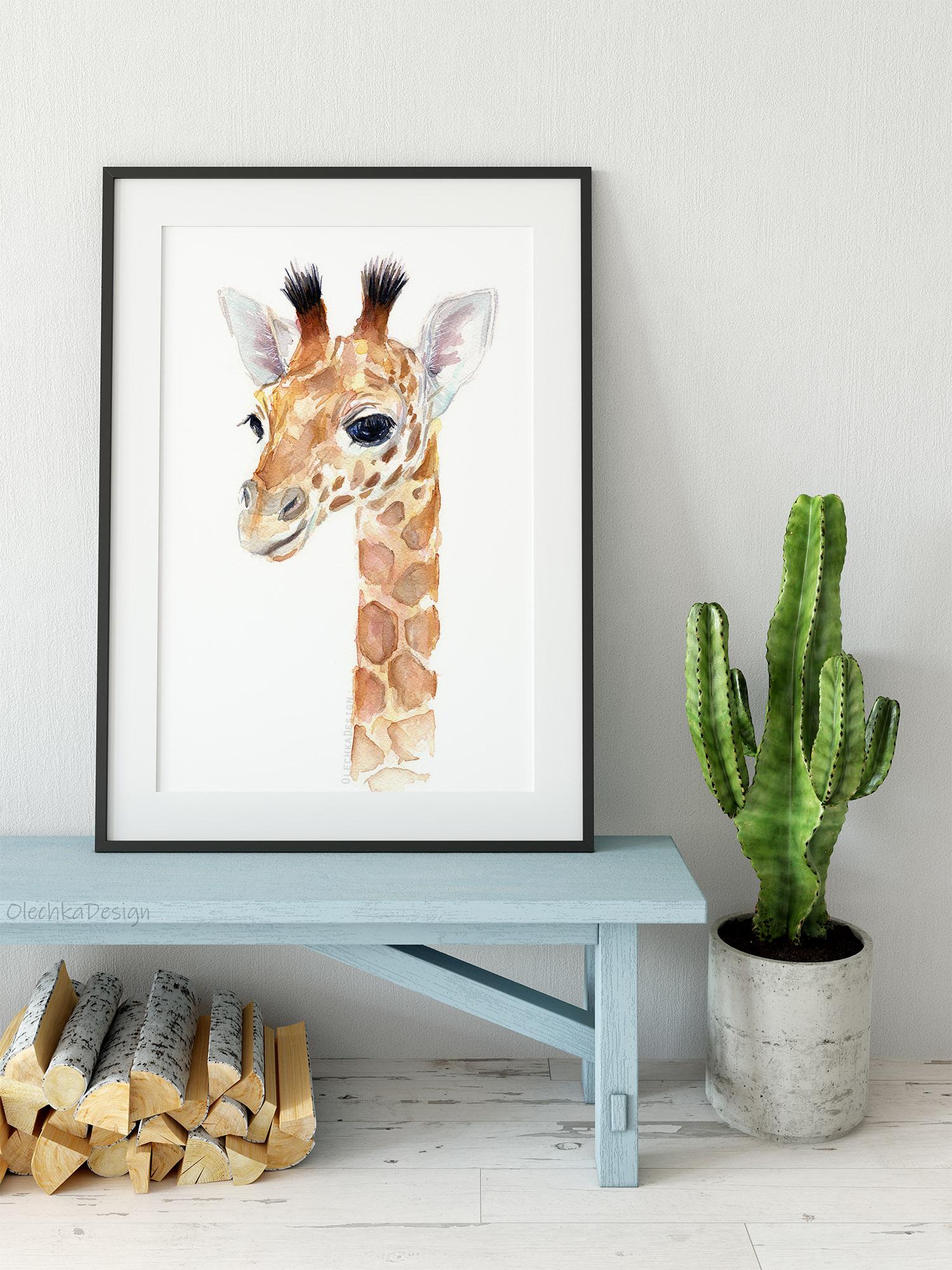 giraffe baby watercolor