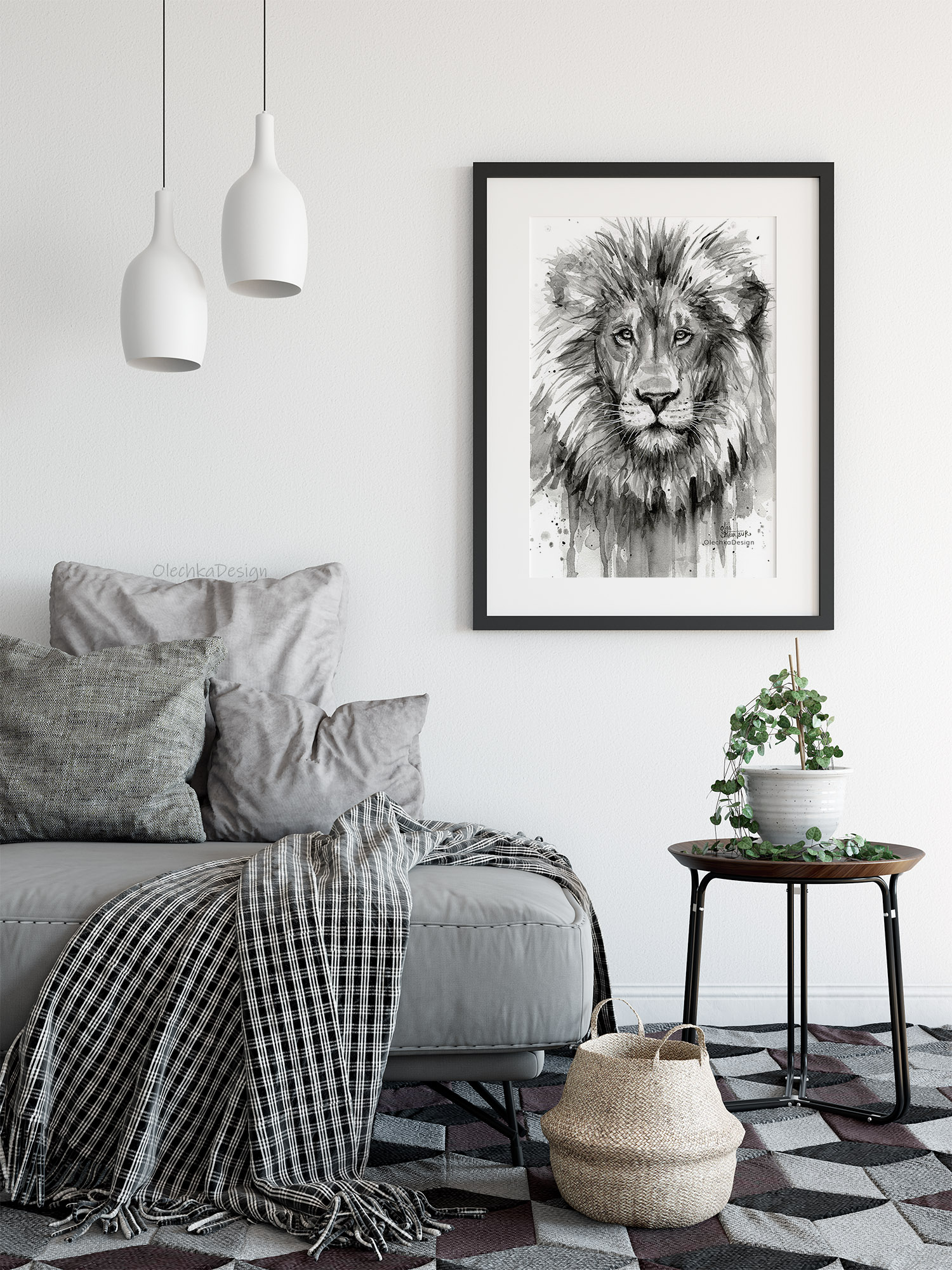 lion watercolor painting