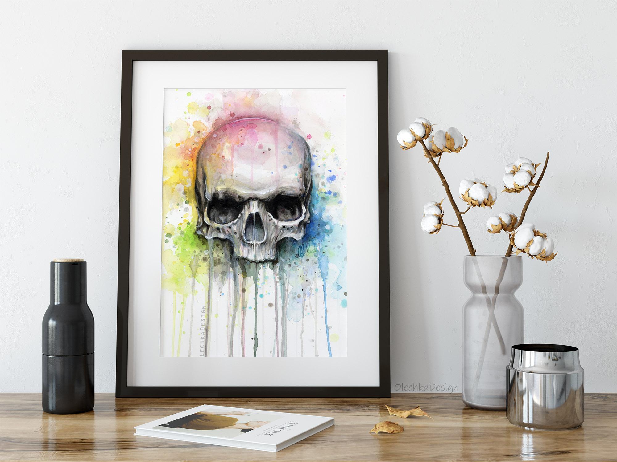 rainbow skull art
