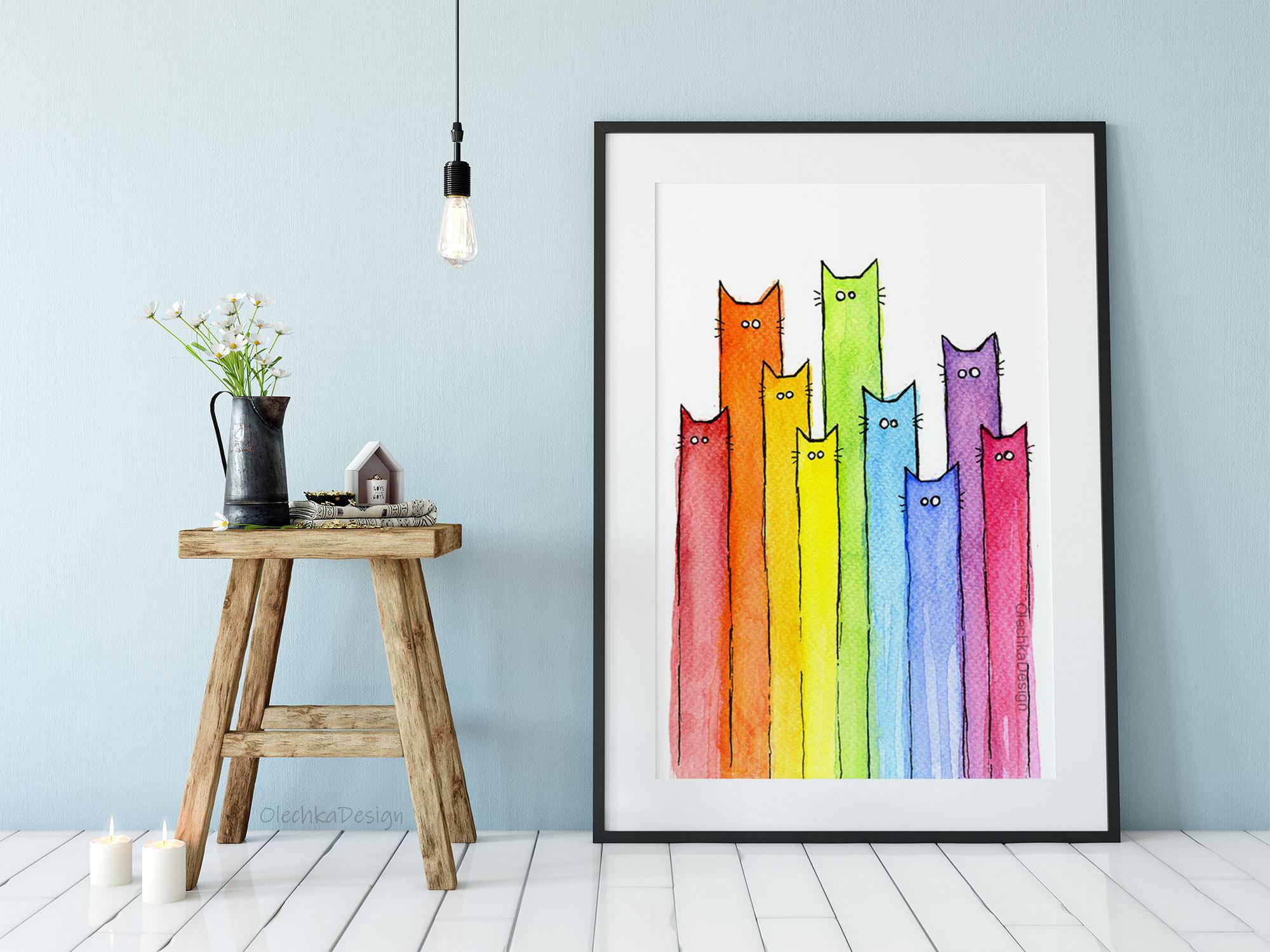 rainbow cats art