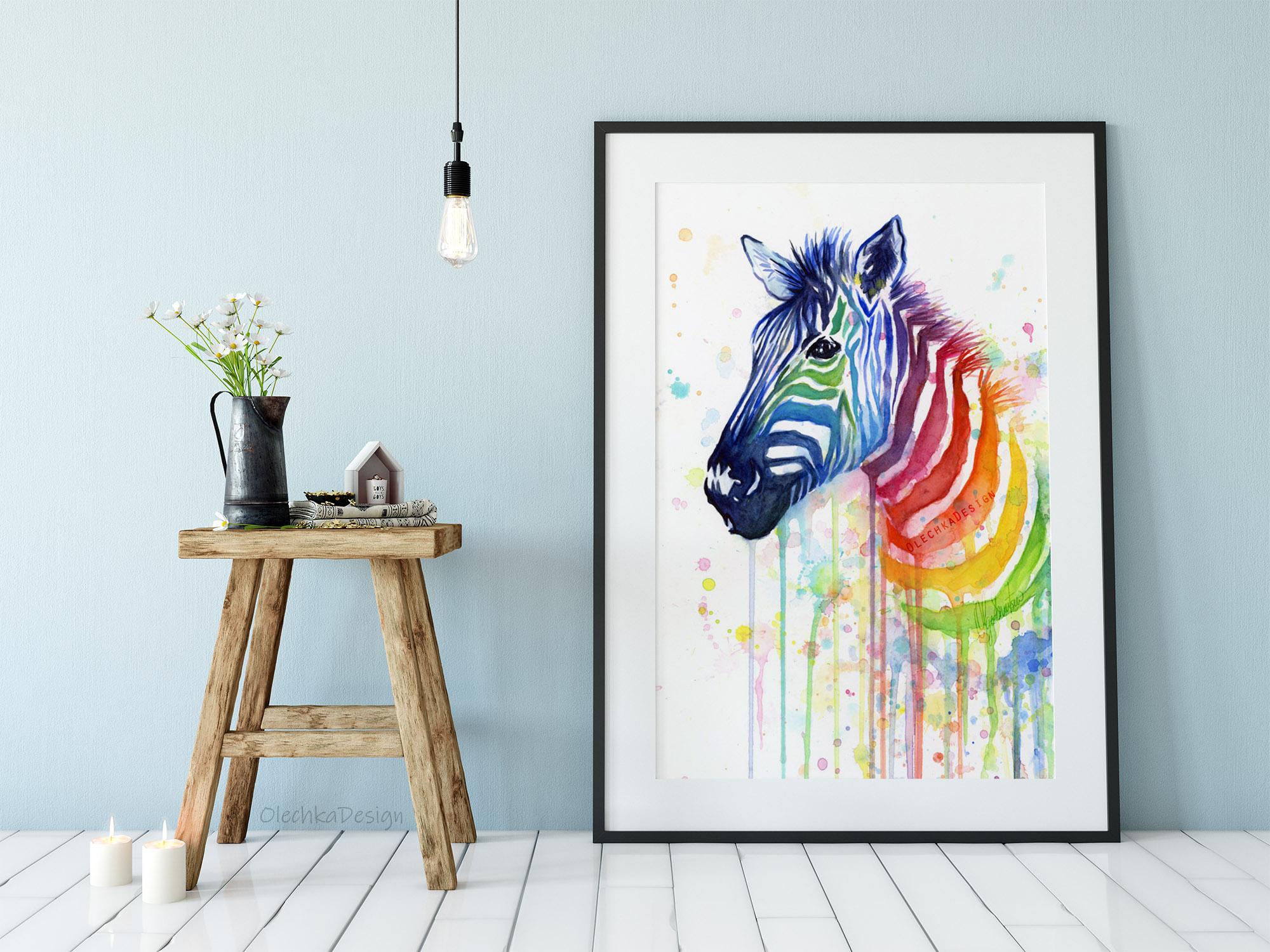 rainbow zebra art