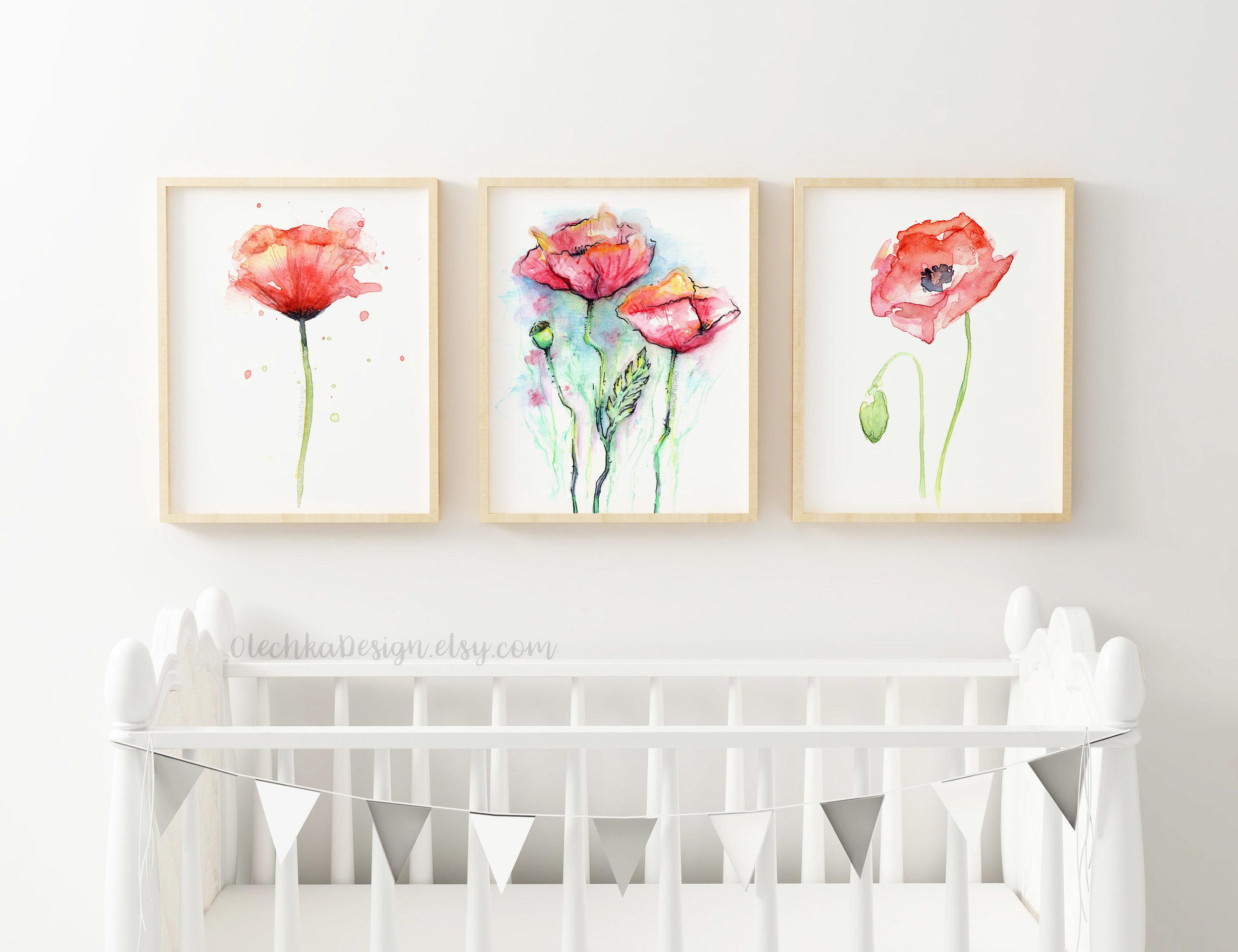 red poppies art prints