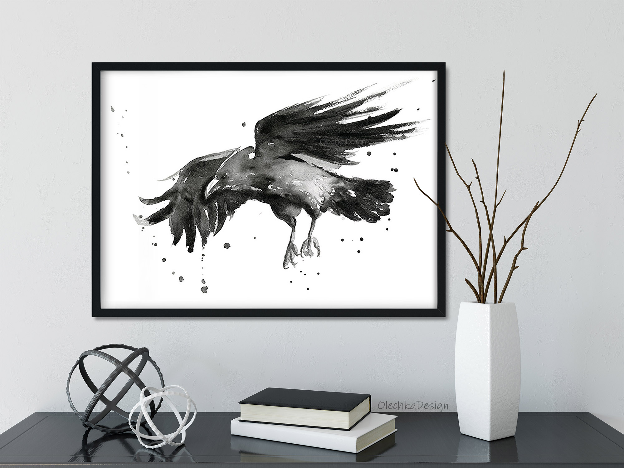 flying raven wall art