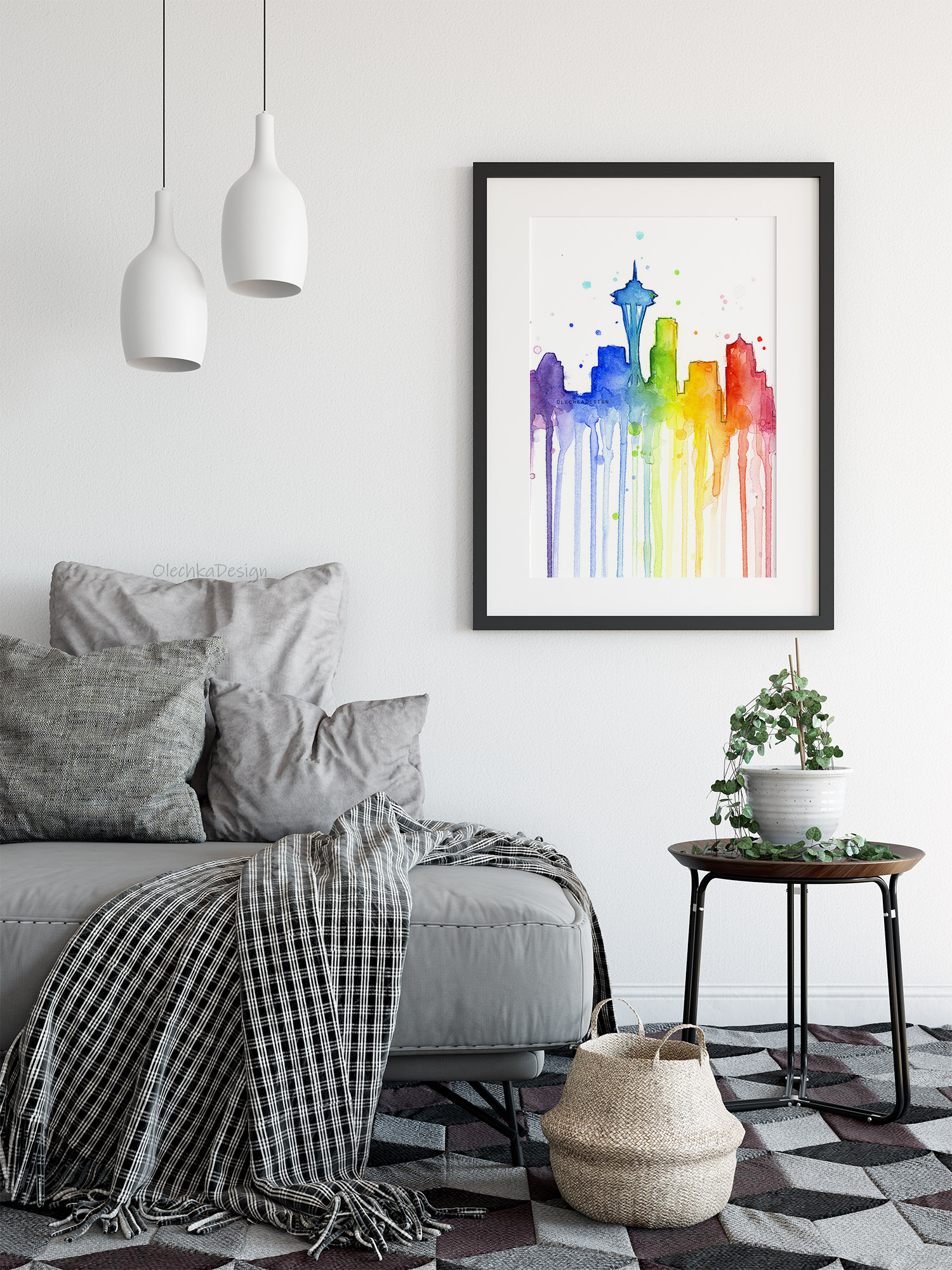 seattle rainbow watercolor