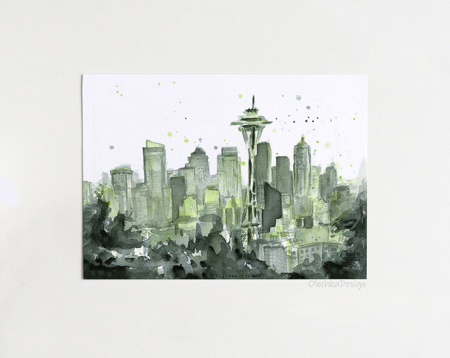 seattle city watercolor