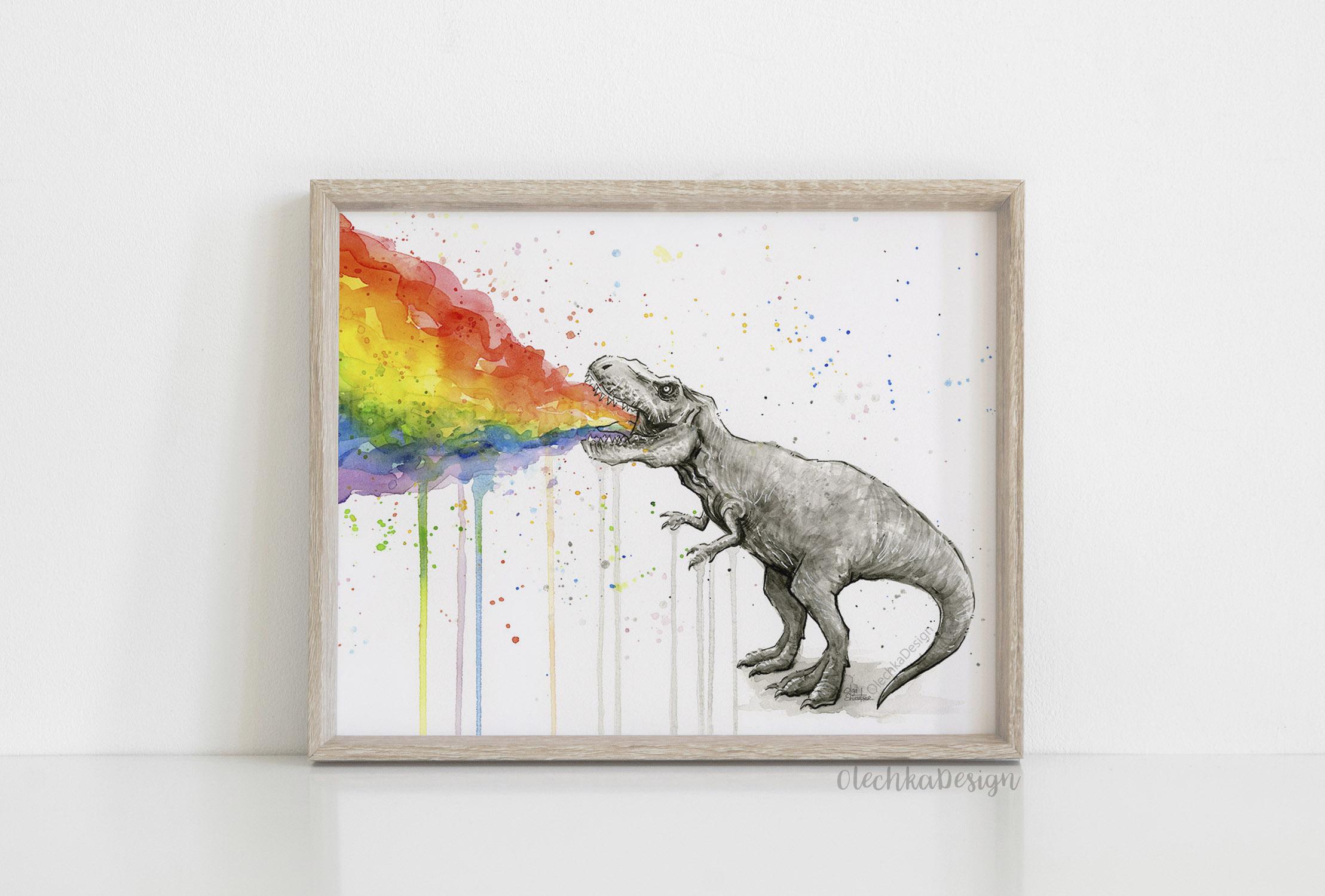 dinosaur rainbow puke