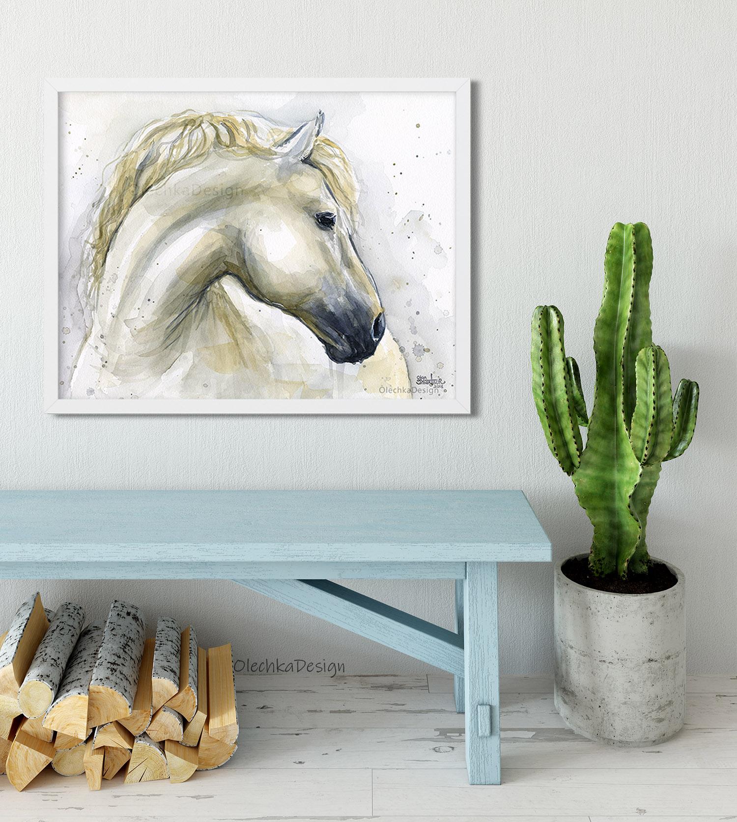 white horse painting