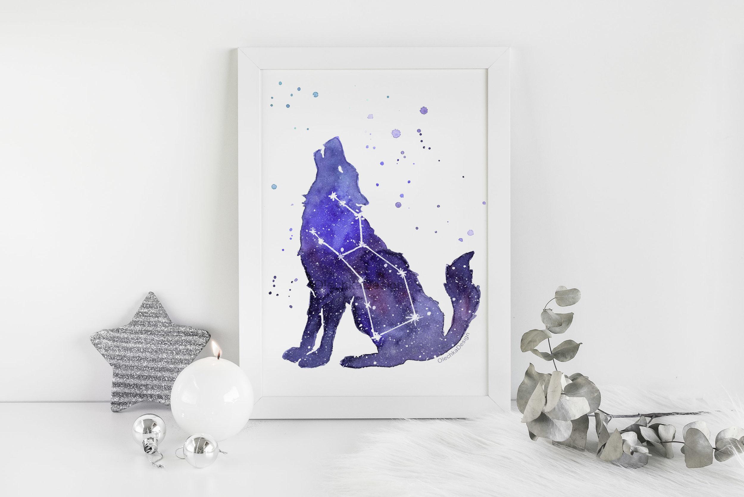 galaxy wolf painting