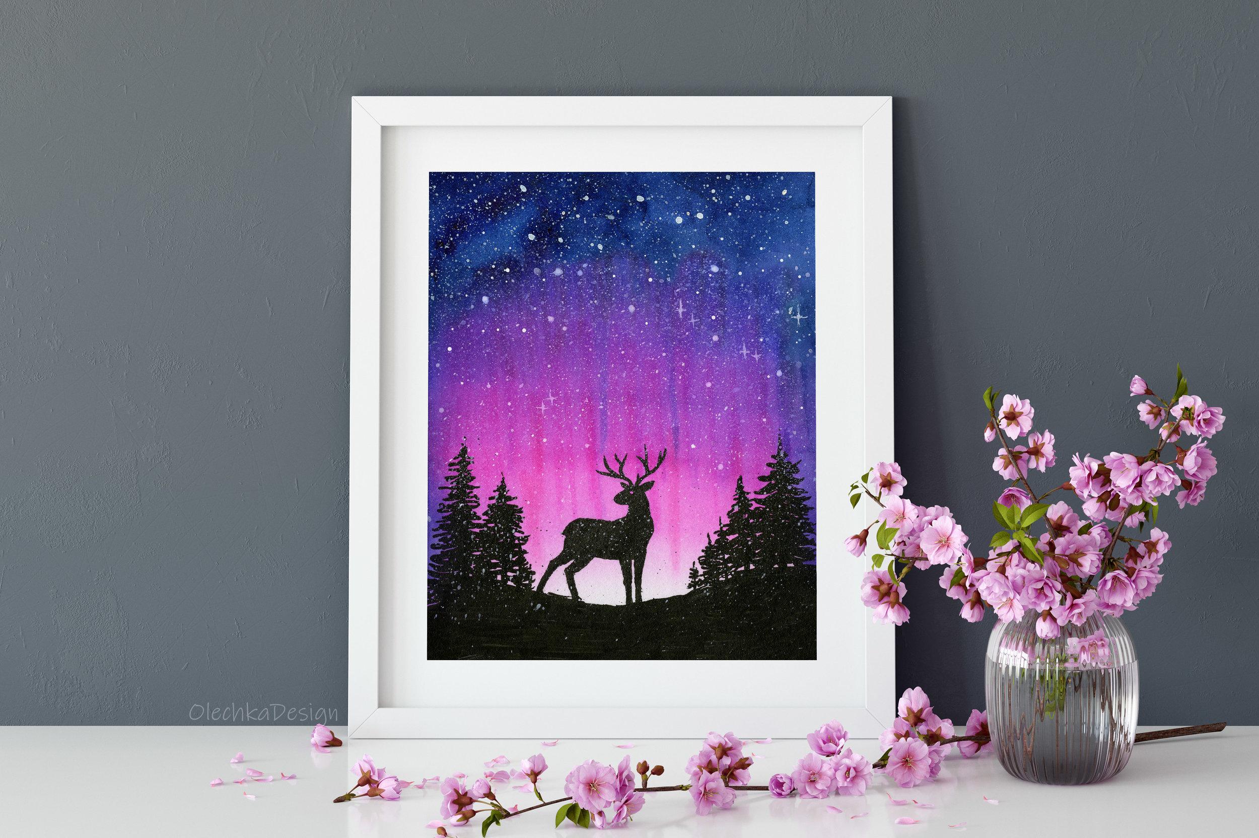 reindeer art print
