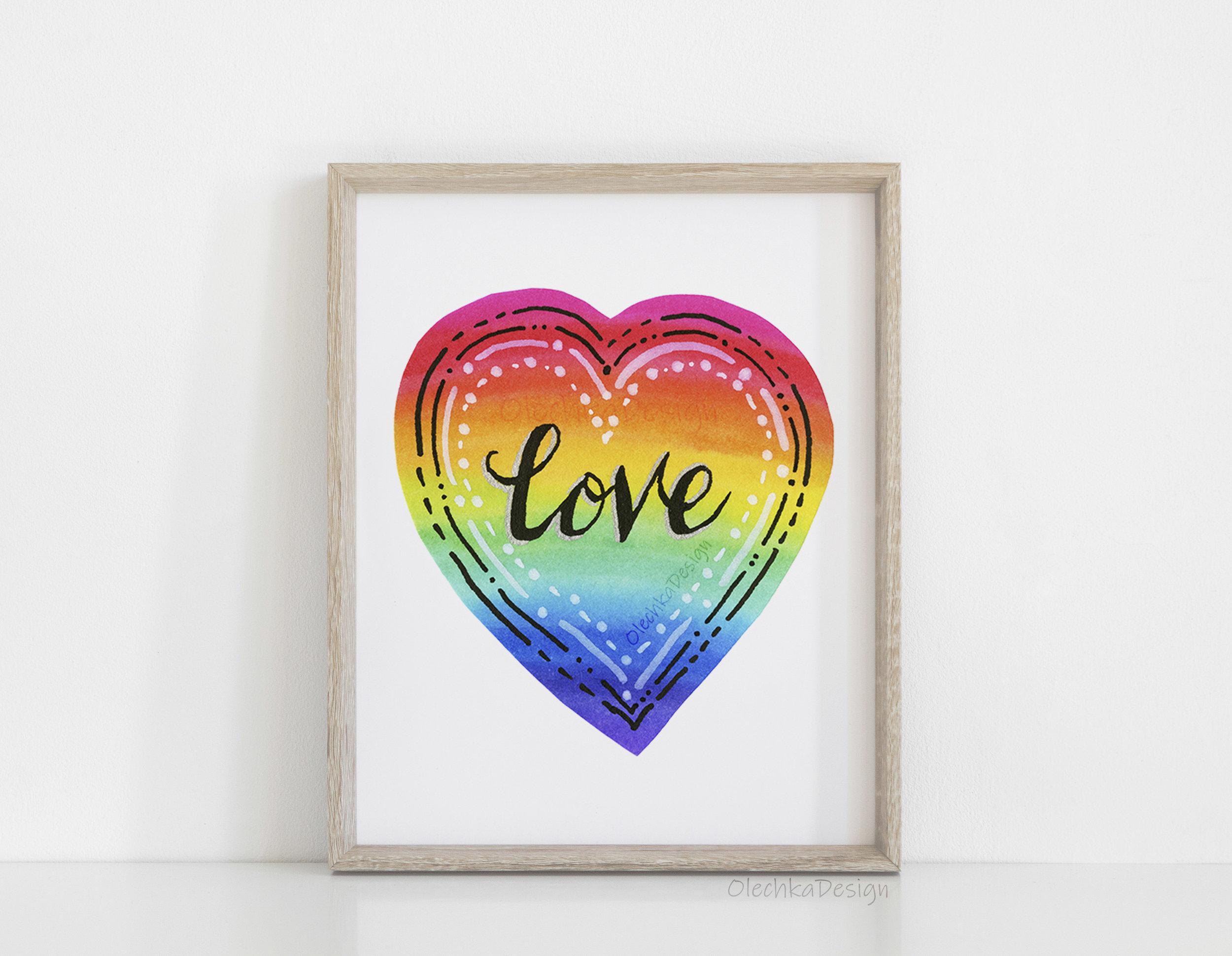 rainbow love watercolor