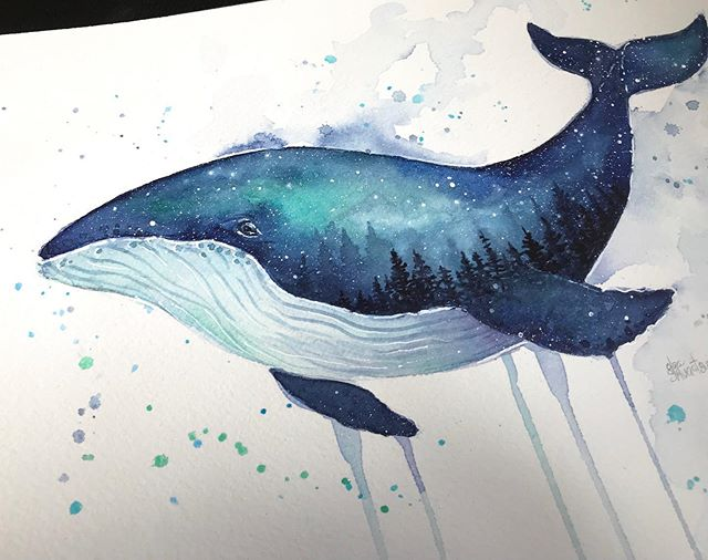 Galaxy whale, watercolor #watercolor #galaxy #whale #whaleart #whales #painting #danielsmith #danielsmithwatercolor #galaxyart #watercolorgalaxy #northernlights #nurseryart