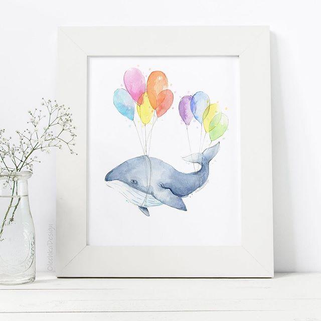 New whale art 🐳 🎈 . . . #whale #whaleart #whalewatercolor #whalenursery #seacreatures #nurserydecor #animals #watercolor #watercolorpainting #danielsmithwatercolors #illustration #whimsicalart #balloons #olechkadesign