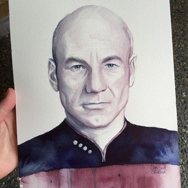 Captain Picard, watercolor ⭐️ . . . . #captainpicard #picard #patrickstewart #sirpatrickstewart #watercolor #startrek #startrektng #startrekart #painting #watercolor_guide #watercolor_art #watercolorpainting
