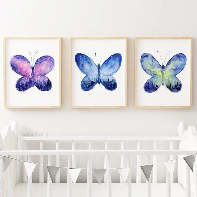 Space butterflies! 🦋 #space #galaxy#butterfly #butterflies #galaxywatercolour #watercolor #watercolors #watercolorpainting #painting #nurseryart #butterflyart