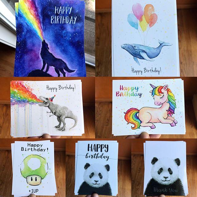 New goodies! Will upload to my Etsy shop soon :) #postcards #watercolor #rainbow #art #birthdayart #birthdaycards #animalwatercolor #unicorn #unicornart #rainbowpuke #rainbowvomit #olechkadesign