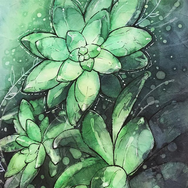Watercolor on rice paper, from a workshop at @oregonsocietyofartists with Kristie Mooney . . . #succulents #watercolor #batik #ricepaper #art #painting #illustrations #watercolor_daily #olechkadesign #ricepaper #oregonsocietyofartists #olgashvartsur