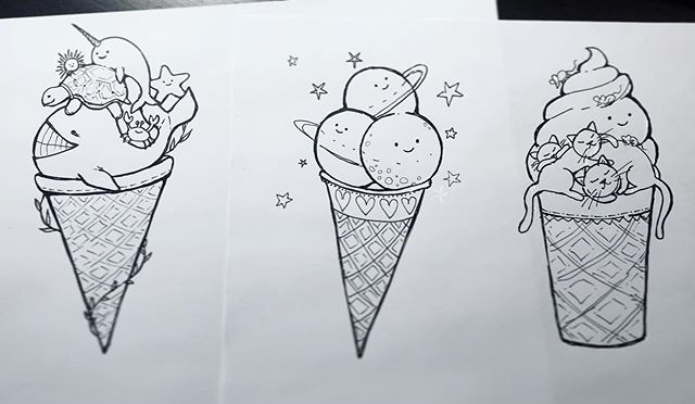 Silly doodles for my kids to color 🙃 😜 #drawing #illustration #whimsical #whimsicalart #icecream #art #funnyart #coloringbook #olechkadesign