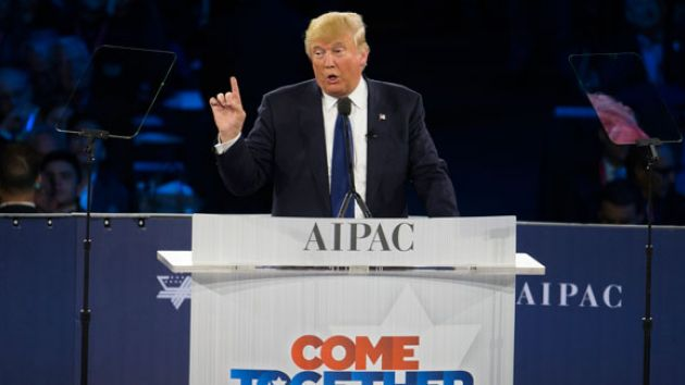 Trump uses a teleprompter to address AIPAC