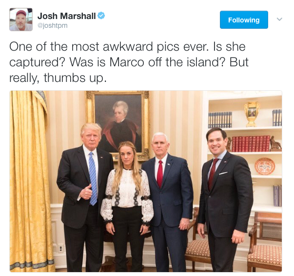 President Trump and Vice President Pence meet with Lilian Tintori and Sen. Marco Rubio (R-Fla.) at the White House on Wednesday, Jan. 15, 2017. (The White House)