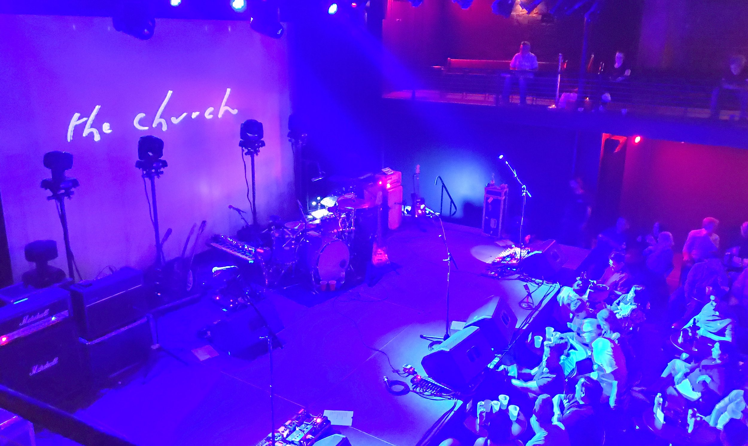 The stage at the Heights Theater, just before the band came out to play