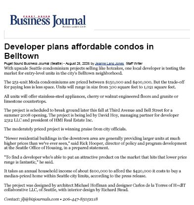 MODA Condos - Puget Sound Business Journal, 08/06