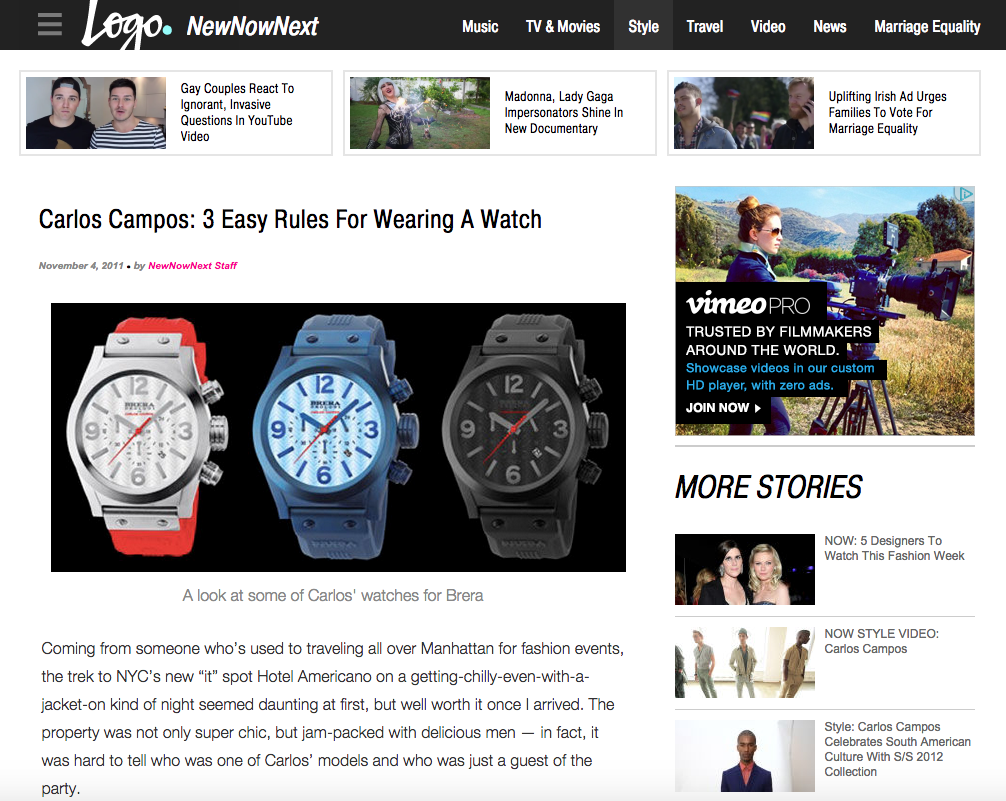 Logo (NewNowNext): Carlos Campos: 3 Easy Rules for Wearing a Watch
