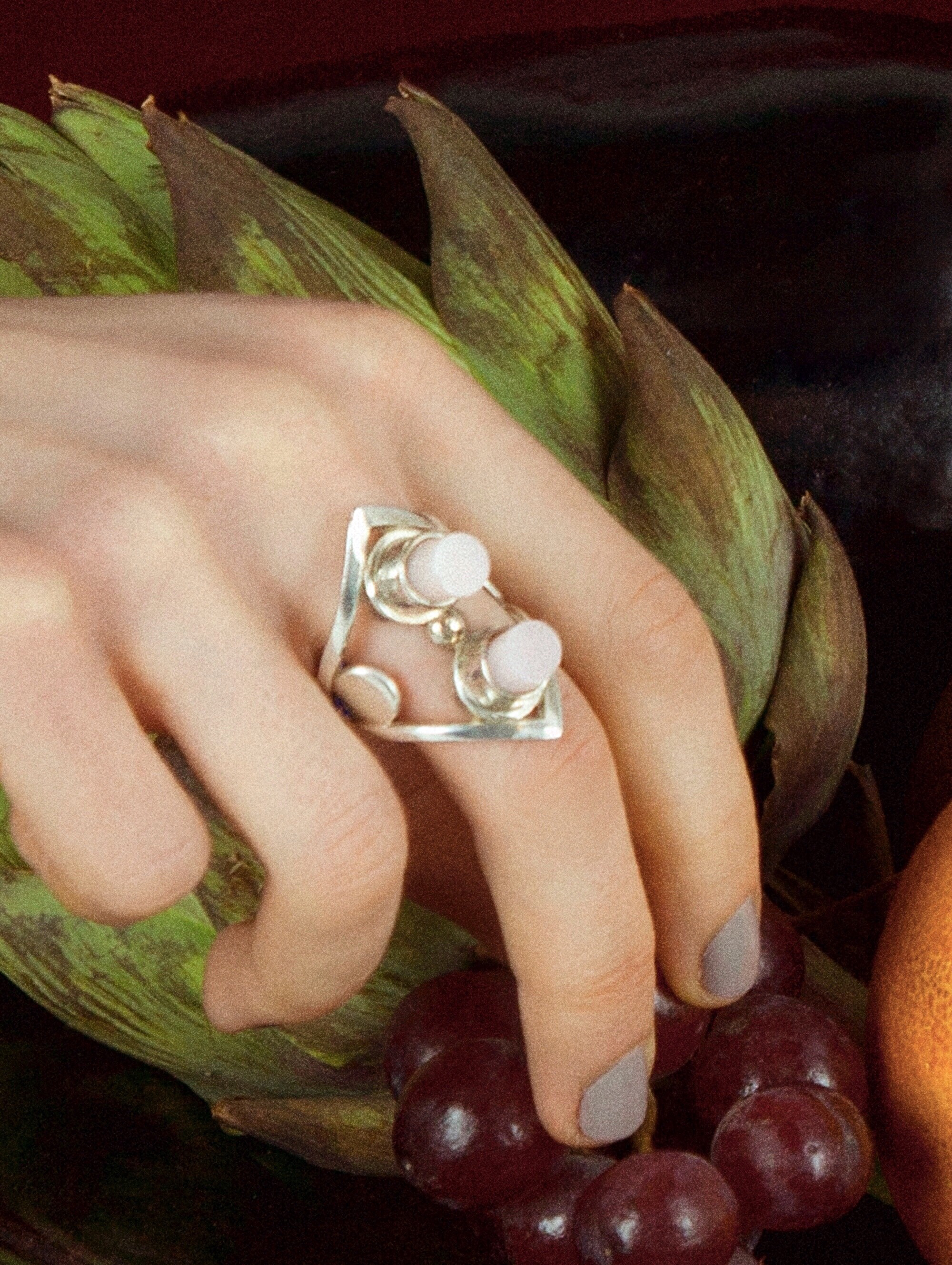 Wednesday Jewellery Cylinder Ring, opal stones