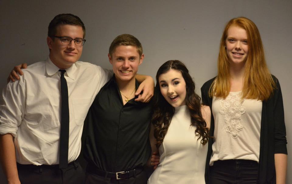 Left to right: Jeremy Cleghorn (guitar), Jared Schwartz (drums), Brooke Falls (vocals), Tina Douglass (piano)