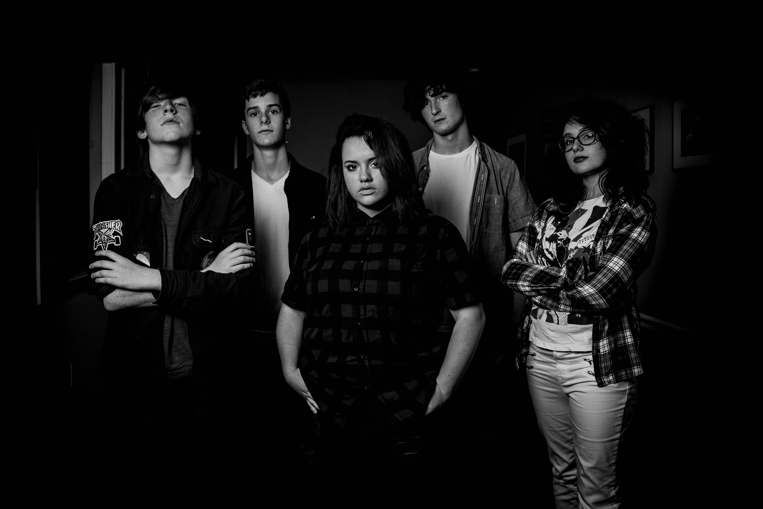 Left to Right: Dylan Monaghan (Guitar), Sam Keister (Guitar), Alexis Corcoran (Vocals), Nate Quasha (Drums), Aimee Schwartz (Bass)