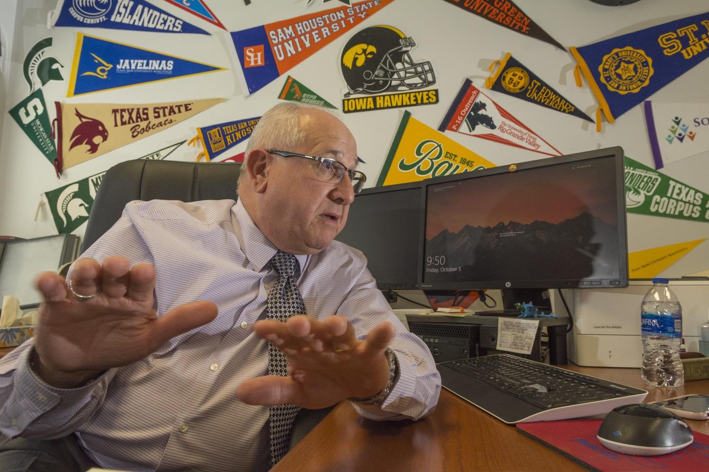 Portrait of Roberto V. García, migrant student counselor, in his office in Edinburg High School.©2018/Jerry Redfern