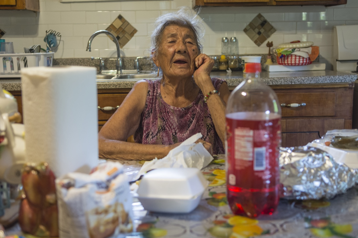 Juliana Martinez talks about her life working in the fields. Mother to Maria Martinez, Juliana was born in Mexico before moving to the US, where she raised kids and picked vegetables for decades.©2018/Jerry Redfern