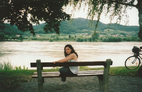 Relaxing afternoon spent by the Danube river in Vienna, Austria