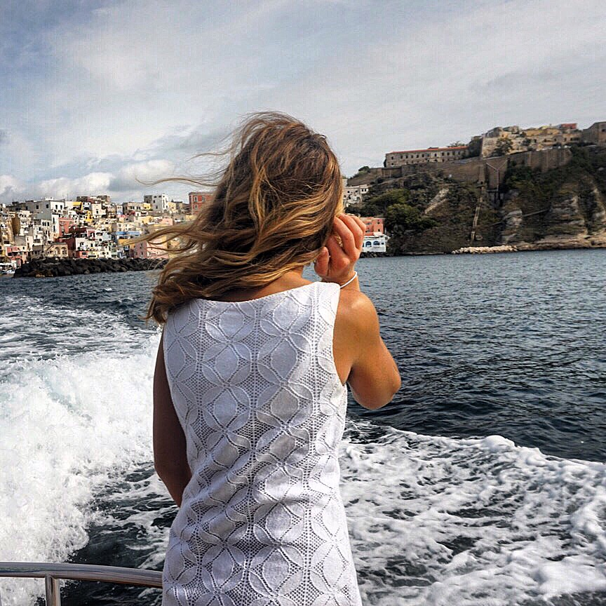 This is me living my dream. Hosting my group on a tour of the amalfi coast (procida in this case to be exact)