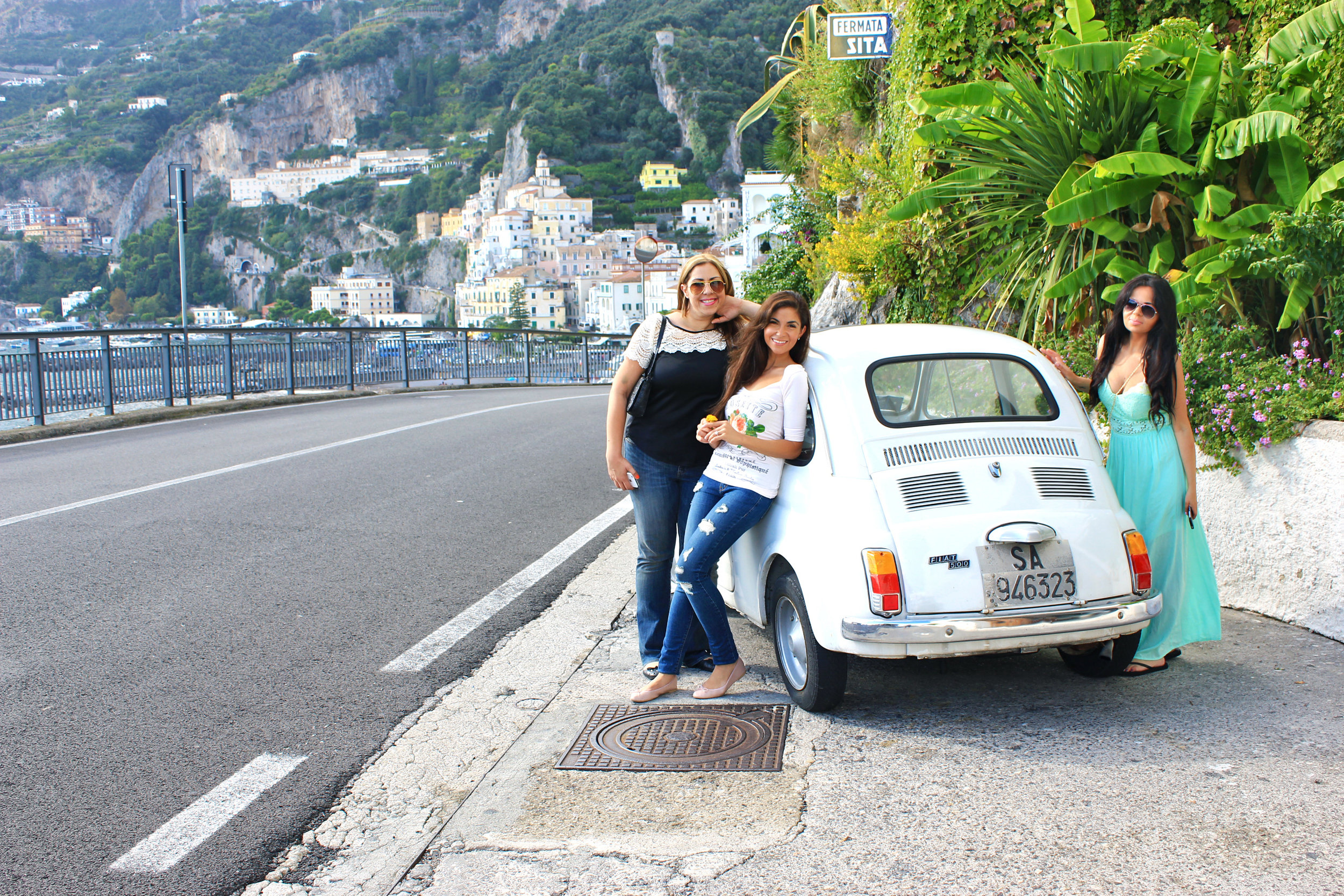Photo Courtesy of Dame Traveler | Nastasia on the road from atrani to amalfi with friends