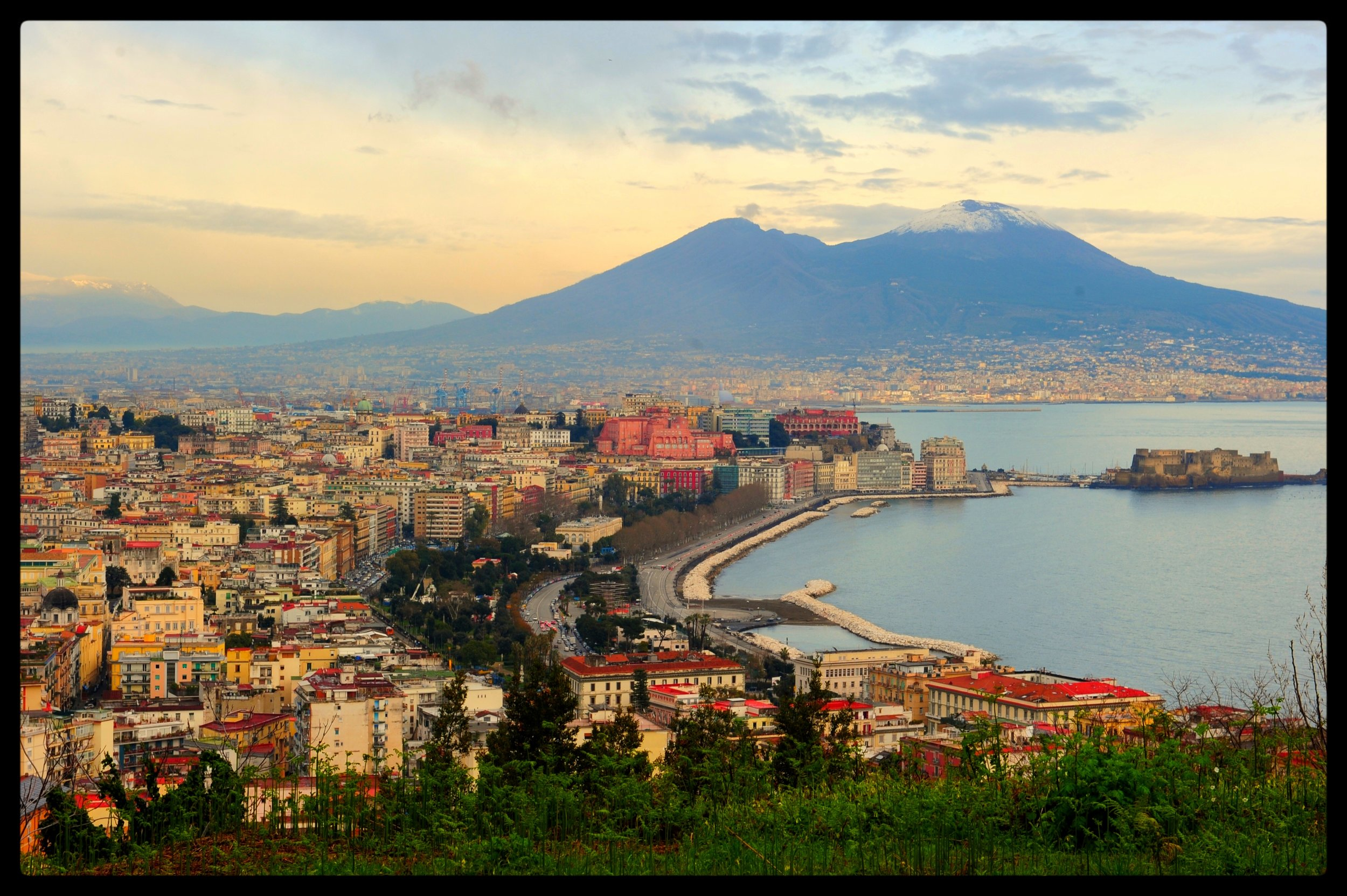 Photo by Tara Crossley | In the winter, you can catch a glimpse of Vesuvius sprinkled with snow