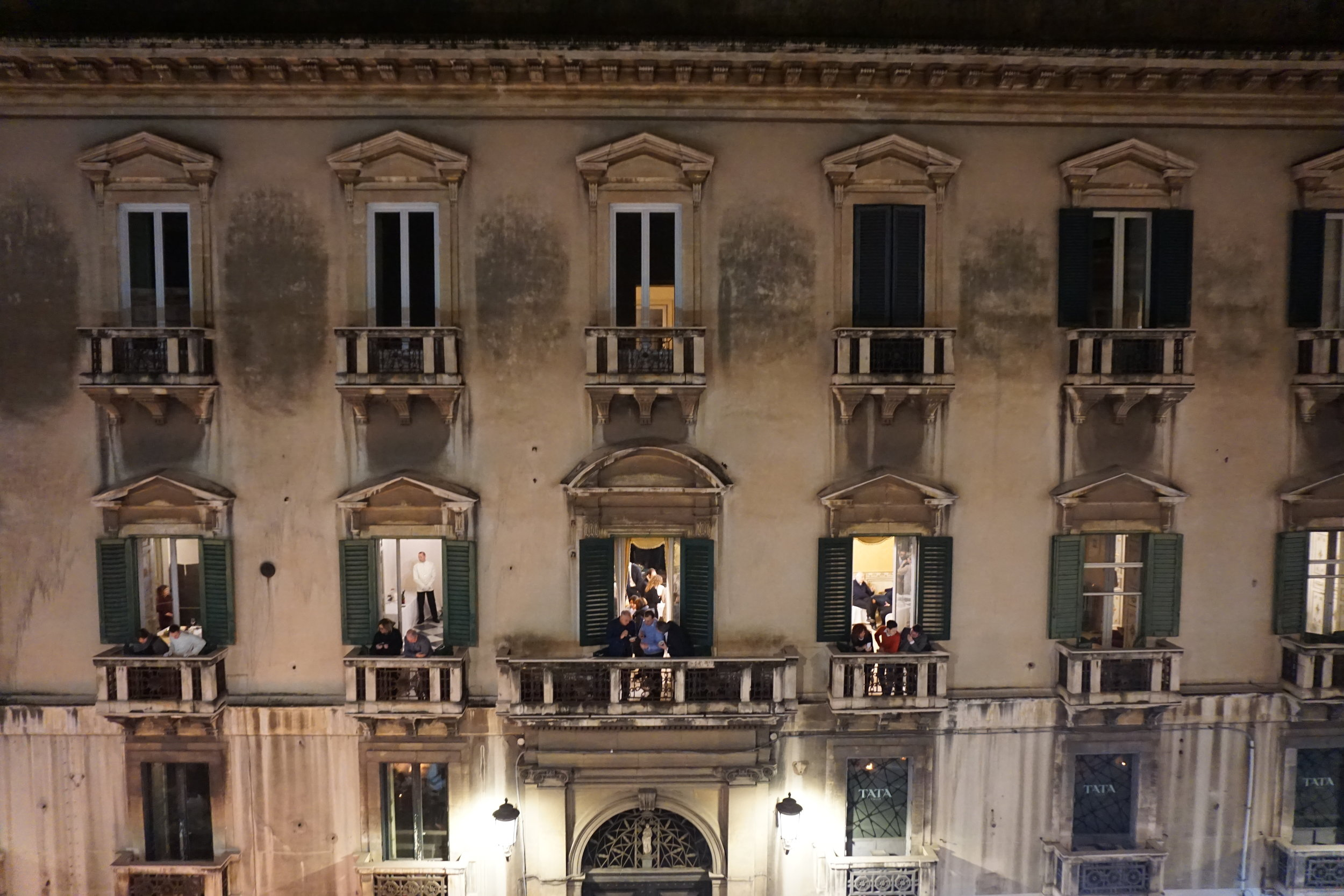 The balcony across from our party. It seems they too were enjoying the similar festivities on Via Etna. PICTURE BY TRAVEL ITALIAN STYLE