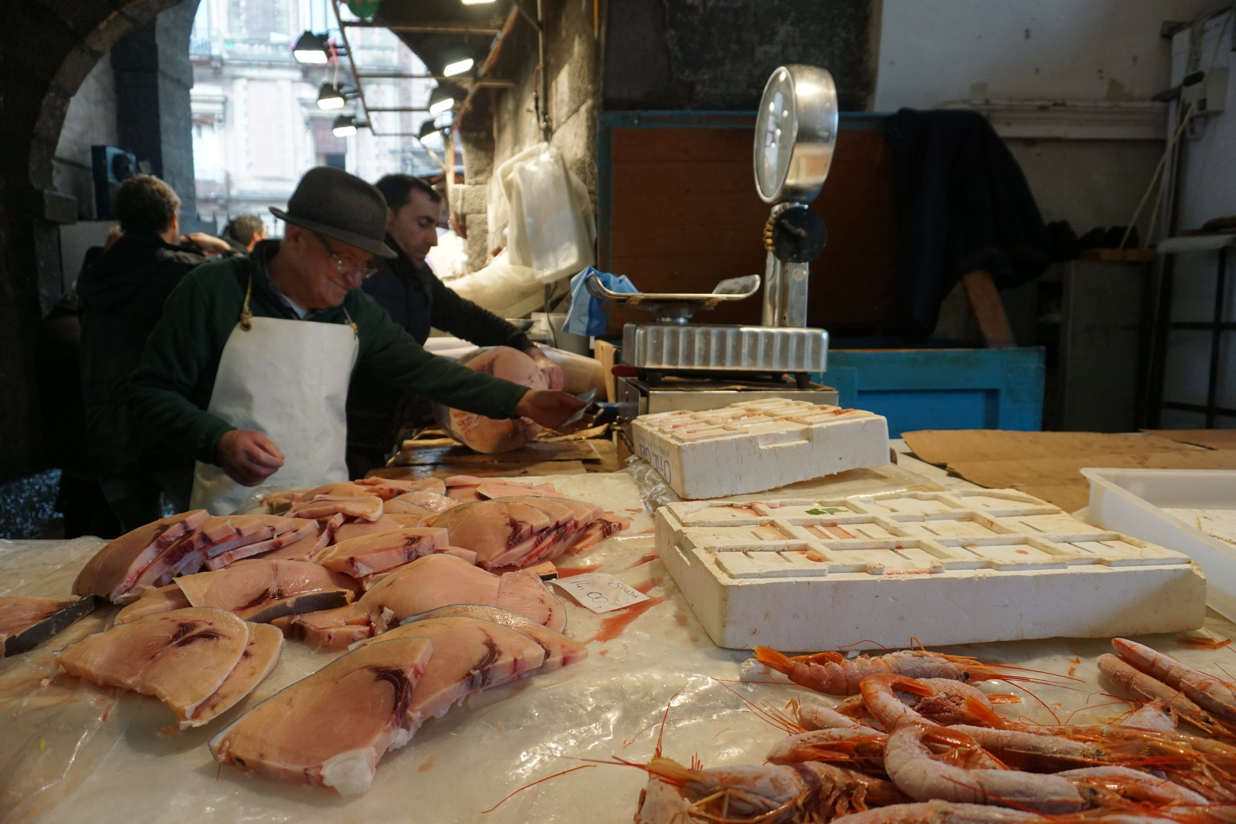 "Monday-Saturday from 7am-2pm behind Piazza Duomo you can find the fisherman selling their ""catch of the day"" while also entertaining the crowds.  PICTURE BY TRAVEL ITALIAN STYLE"