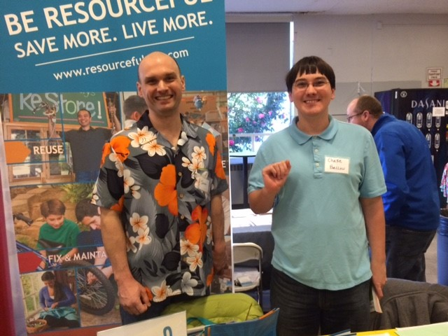 Jason, right, and Chase Ballew at the Fix-it Fair.