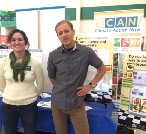 Paul, right, with Susan Mead at the Climate Action Now booth