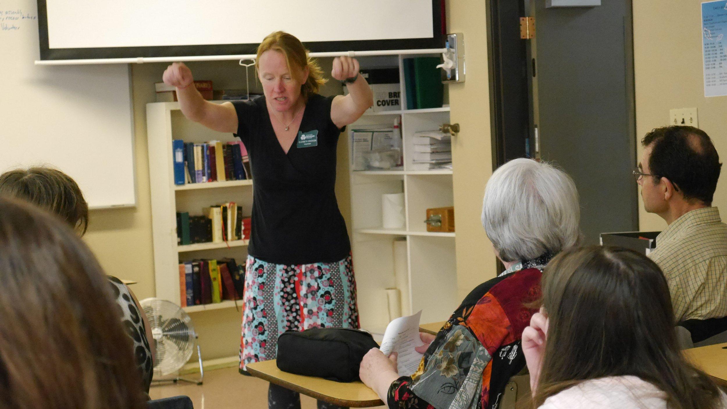 Elizabeth Erickson (Class 52) telling her story at Oregon Green Schools.