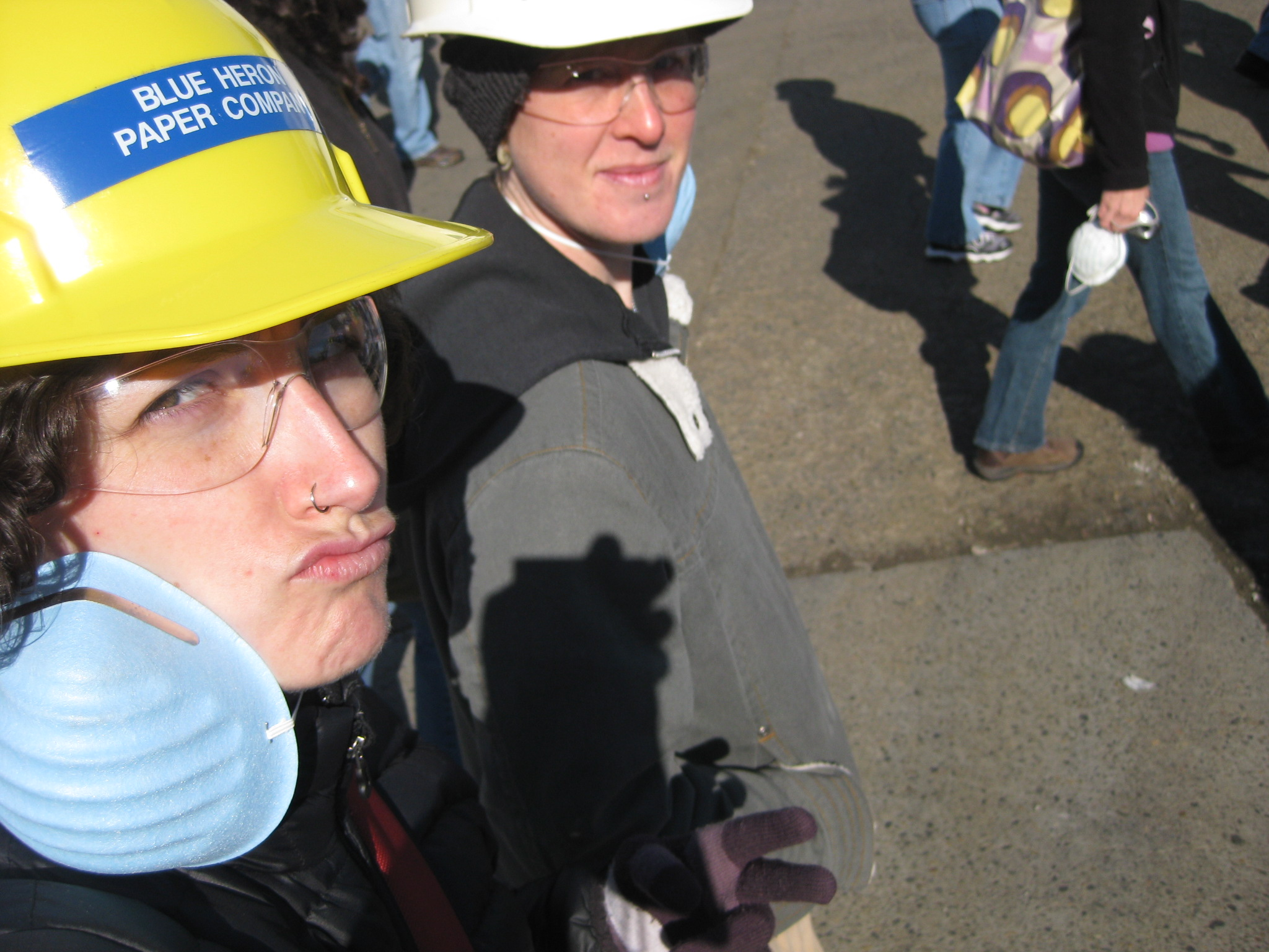 Elle likes to take fun pictures as well. This one was way back during the class tour of the Blue Heron paper mill which is now closed.