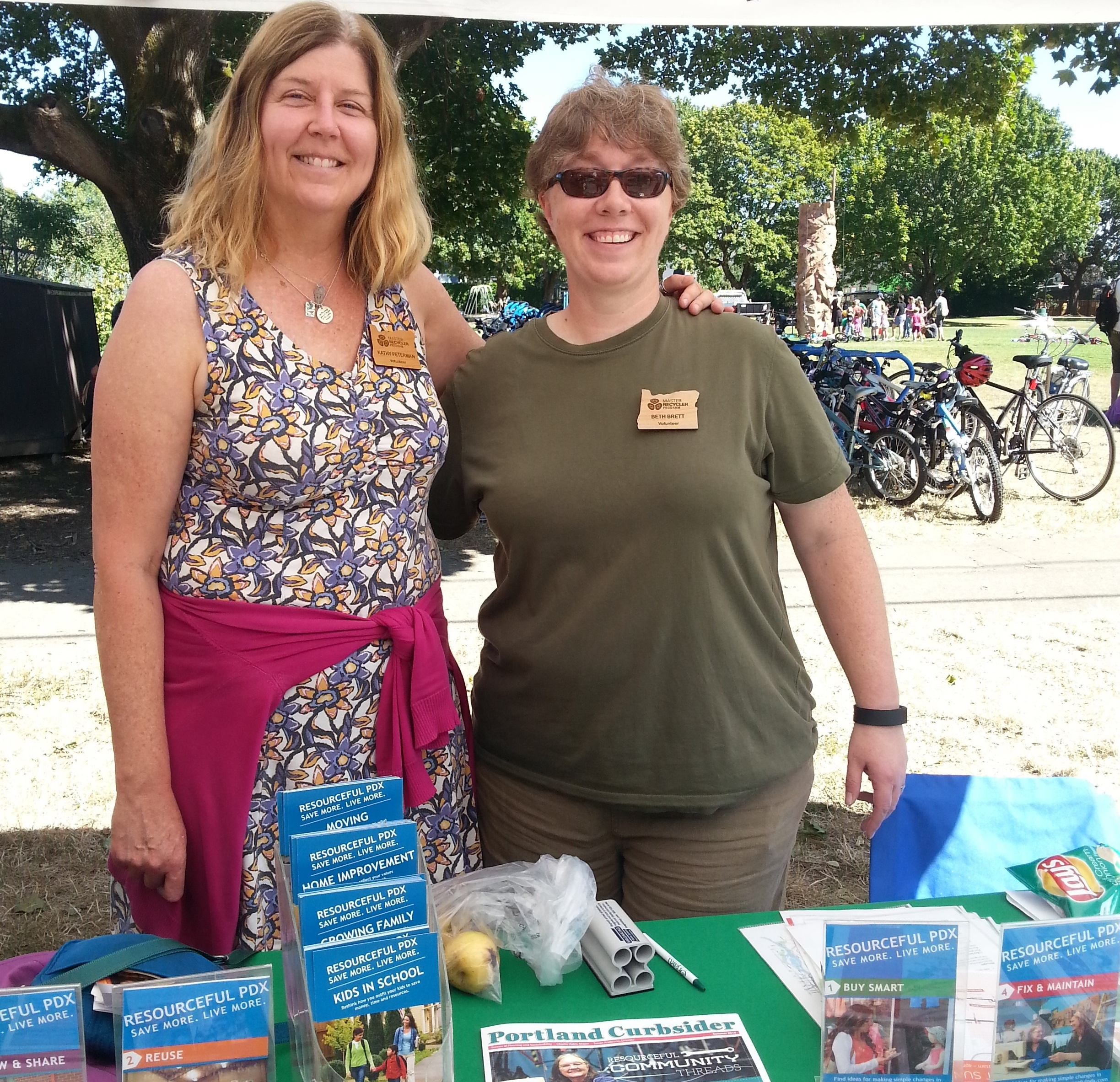 Beth with Kathy (Class 62) enjoying a Summer day at Sunday Parkways.